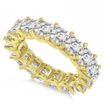 Asscher-Cut Eternity Diamond Wedding Band Ring 14k Yellow Gold (7.20ct)