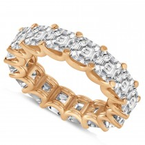 Asscher-Cut Eternity Diamond Wedding Band Ring 14k Rose Gold (9.00ct)