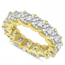Asscher-Cut Eternity Diamond Wedding Band Ring 14k Yellow Gold (9.00ct)