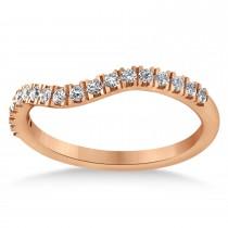 Diamond Curved Ring Wedding Band 18k Rose Gold (0.27ct)