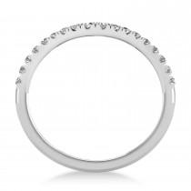 Diamond Curved Ring Wedding Band 18k White Gold (0.27ct)