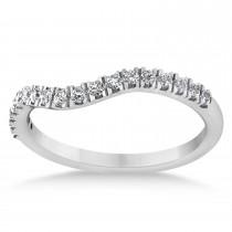 Diamond Curved Ring Wedding Band Palladium (0.27ct)