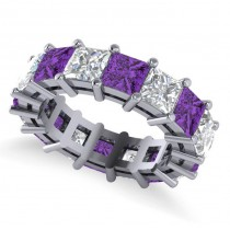 Princess Diamond & Amethyst Wedding Band 14k White Gold (10.08ct)