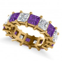 Princess Cut Diamond & Amethyst Eternity Wedding Band 14k Yellow Gold (10.08ct)