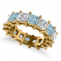 Princess Cut Diamond & Aquamarine Eternity Wedding Band 14k Yellow Gold (10.08ct)