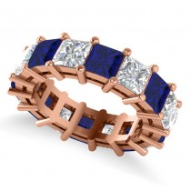 Princess Cut Diamond & Blue Sapphire Eternity Wedding Band 14k Rose Gold (10.08ct)