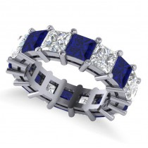 Princess Diamond & Blue Sapphire Wedding Band 14k White Gold (10.08ct)