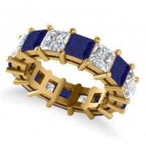 Princess Diamond & Blue Sapphire Wedding Band 14k Yellow Gold (10.08ct)