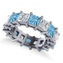 Princess Cut Diamond & Blue Topaz Eternity Wedding Band 14k White Gold (10.08ct)