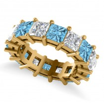 Princess Cut Diamond & Blue Topaz Eternity Wedding Band 14k Yellow Gold (10.08ct)