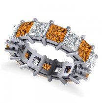 Princess Cut Diamond & Citrine Eternity Wedding Band 14k White Gold (10.08ct)