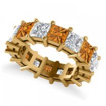 Princess Cut Diamond & Citrine Eternity Wedding Band 14k Yellow Gold (10.08ct)