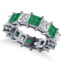 Princess Cut Diamond & Emerald Eternity Wedding Band 14k White Gold (10.08ct)