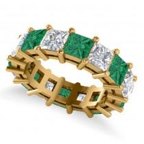 Princess Diamond & Emerald Wedding Band 14k Yellow Gold (10.08ct)
