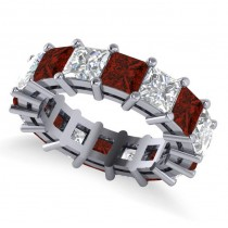 Princess Cut Diamond & Garnet Eternity Wedding Band 14k White Gold (10.08ct)