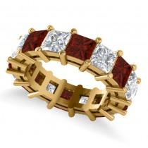 Princess Diamond & Garnet Wedding Band 14k Yellow Gold (10.08ct)