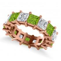 Princess Cut Diamond & Peridot Eternity Wedding Band 14k Rose Gold (10.08ct)