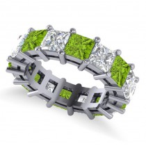 Princess Cut Diamond & Peridot Eternity Wedding Band 14k White Gold (10.08ct)