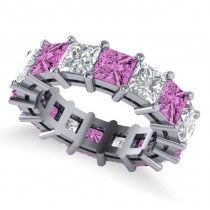 Princess Cut Diamond & Pink Sapphire Eternity Wedding Band 14k White Gold (10.08ct)