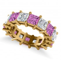 Princess Cut Diamond & Pink Sapphire Eternity Wedding Band 14k Yellow Gold (10.08ct)