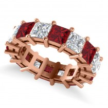 Princess Cut Diamond & Ruby Eternity Wedding Band 14k Rose Gold (10.08ct)