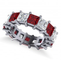 Princess Cut Diamond & Ruby Eternity Wedding Band 14k White Gold (10.08ct)