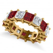 Princess Cut Diamond & Ruby Eternity Wedding Band 14k Yellow Gold (10.08ct)