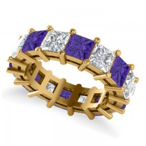 Princess Diamond & Tanzanite Wedding Band 14k Yellow Gold (10.08ct)