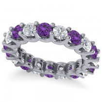 Diamond & Amethyst Eternity Wedding Band 14k White Gold (3.53ct)