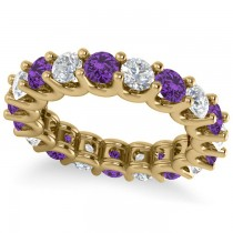 Diamond & Amethyst Eternity Wedding Band 14k Yellow Gold (3.53ct)