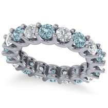 Diamond & Aquamarine Eternity Wedding Band 14k White Gold (3.53ct)