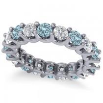 Diamond & Aquamarine Eternity Wedding Band 14k White Gold (3.53ct)