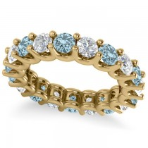 Diamond & Aquamarine Eternity Wedding Band 14k Yellow Gold (3.53ct)