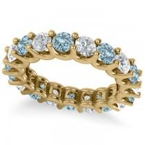 Diamond & Aquamarine Eternity Wedding Band 14k Yellow Gold (3.53ct)