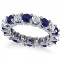 Diamond & Blue Sapphire Eternity Wedding Band 14k White Gold (3.53ct)