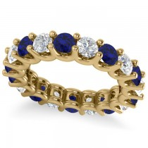 Diamond & Blue Sapphire Eternity Wedding Band 14k Yellow Gold (3.53ct)