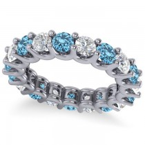 Diamond & Blue Topaz Eternity Wedding Band 14k White Gold (3.53ct)