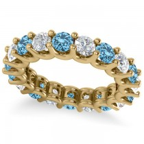 Diamond & Blue Topaz Eternity Wedding Band 14k Yellow Gold (3.53ct)