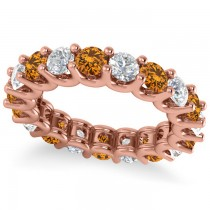 Diamond & Citrine Eternity Wedding Band 14k Rose Gold (3.53ct)