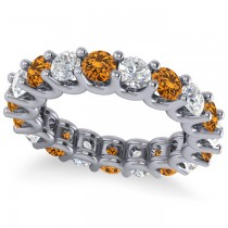 Diamond & Citrine Eternity Wedding Band 14k White Gold (3.53ct)