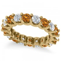 Diamond & Citrine Eternity Wedding Band 14k Yellow Gold (3.53ct)