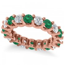 Diamond & Emerald Eternity Wedding Band 14k Rose Gold (3.53ct)