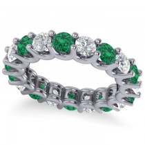 Diamond & Emerald Eternity Wedding Band 14k White Gold (3.53ct)