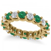 Diamond & Emerald Eternity Wedding Band 14k Yellow Gold (3.53ct)