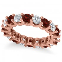 Diamond & Garnet Eternity Wedding Band 14k Rose Gold (3.53ct)