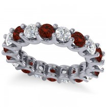Diamond & Garnet Eternity Wedding Band 14k White Gold (3.53ct)
