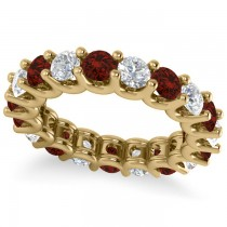 Diamond & Garnet Eternity Wedding Band 14k Yellow Gold (3.53ct)