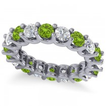 Diamond & Peridot Eternity Wedding Band 14k White Gold (3.53ct)