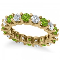 Diamond & Peridot Eternity Wedding Band 14k Yellow Gold (3.53ct)