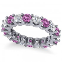 Diamond & Pink Sapphire Eternity Wedding Band 14k White Gold (3.53ct)